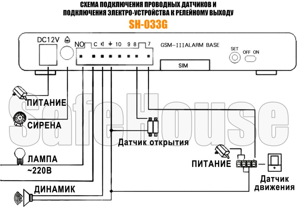 Инструкция GSM сигнализации SH-033G - Схема проводных подключений