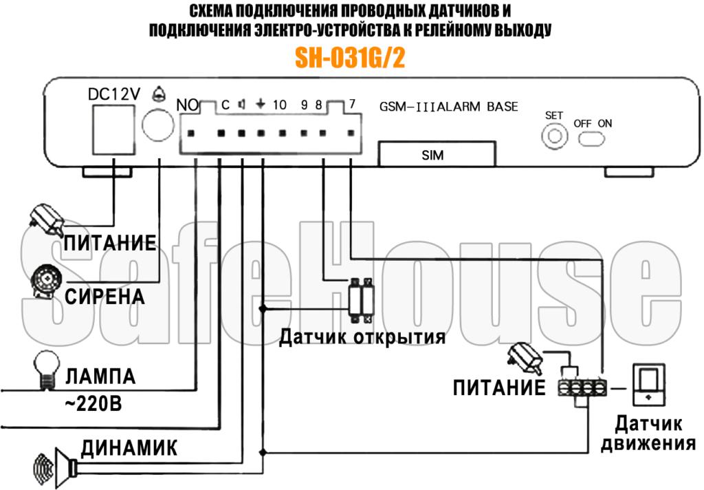 Инструкция GSM сигнализации SH-031G/2 - Схема проводных подключений