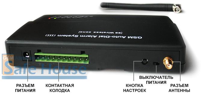 Инструкция GSM сигнализации SH-032G - Тыльная сторона системного блока