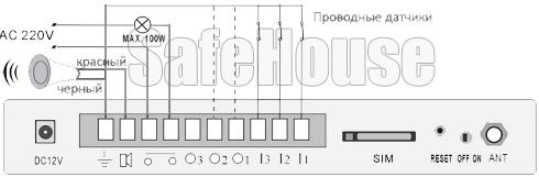Инструкция GSM сигнализации SH-032G - Схема проводных подключений