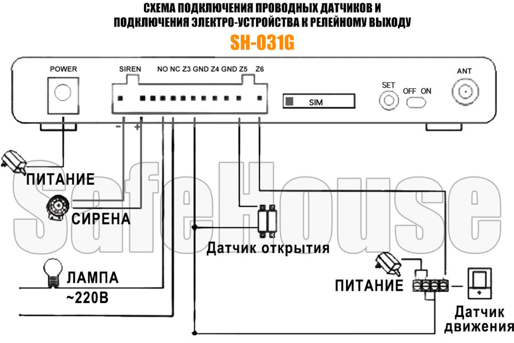 Security Alarm System инструкция - Схема проводных подключений